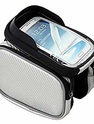 cheap -front frame top tube mount handlebar bags waterproof bicycle frame front tube beam bag transparent pvc cycling pannier pouch basket for 17.59cm bike bicycle phone bags