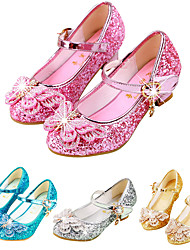 cheap -Girls' Heels Moccasin Flower Girl Shoes Princess Shoes Rubber PU Block Heel Sandals Little Kids(4-7ys) Big Kids(7years +) Daily Party & Evening Walking Shoes Rhinestone Buckle Sequin Pink Gold Dark
