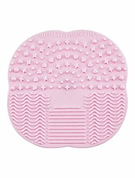 cheap -silicone brush cleaner 2pcs egg makeup brush cleaning pad and silicone makeup brush ,for eyebrow brush, loose powder brush and fan brush -10.5 cm* 10.5 cm pink