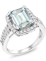 cheap -925 sterling silver sky blue simulated aquamarine women's engagement ring 3.72 ct emerald cut (size 8)