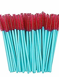 cheap -50pcs makeup brushes disposable eyelash eyebrow brush mascara wands grafting eye lashes applicator blue red