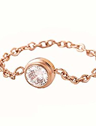 cheap -rose gold stainless steel chain band cubic zircon ring statement party (8)
