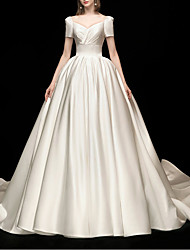 cheap -Princess Ball Gown Wedding Dresses V Neck Chapel Train Satin Short Sleeve Formal Simple with Pleats 2021
