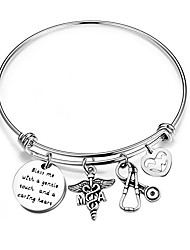 "cheap -medical assistant bracelet with ma caduceus stethoscope heartbeat charms gift for nurse medical assistant""bless me with a gentle touch and a caring heart"" (medical assistant bracelet)"
