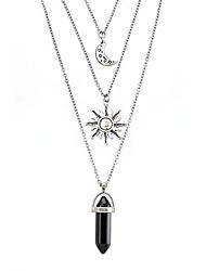 cheap -gothic necklaces chakra sun and moon charm pendant multlayered alloy chain choker necklace set gothic jewelry(silver-pentacle pentagram)