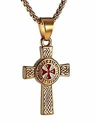 cheap -stainless steel knights cross templar eternal celtic irish knot pendant necklace, 22+2 inch chain (gold)