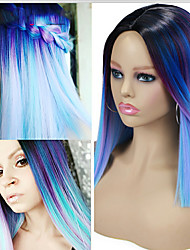 cheap -Ombre Short Bob Synthetic Wig Blue Purple Rainbow Colorful Straight Hair Middle Part Cosplay Heat Resistant Fiber For Women
