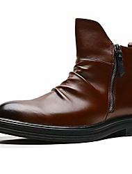 cheap -men's chelsea boot fashion winter chukka ankle boot dress boots leather zipper oxford classic comfortable boots brown 8