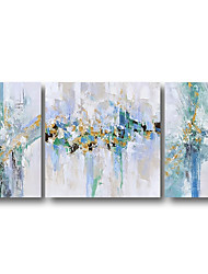 cheap -3 Panels Oil Painting Handmade Hand Painted Wall Art Abstract Pop Art Modern Home Decoration Décor Stretched Frame Ready to Hang