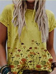 cheap -Women's Plus Size Tops T shirt Print Floral Large Size Round Neck Short Sleeve Christmas Big Size