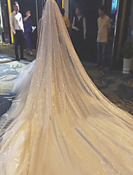 cheap -Two-tier Personalized Wedding Veil Chapel Veils with Sparkling Glitter Tulle