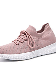 cheap -Women's Flats Flat Heel Round Toe Casual Daily Walking Shoes Elastic Fabric Lace-up Solid Colored Pink