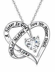 cheap -925 sterling silver engraved always sister forever my friend heart pendant necklace gift for women sisters siblings teens,18 inch