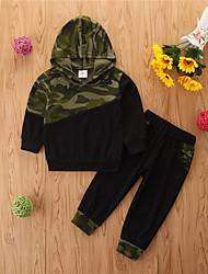 cheap -Toddler Girls' Clothing Set Print Long Sleeve Cotton Casual Black Basic Regular Regular