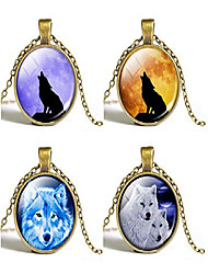 cheap -wolf glass necklace pendant gemstone wolf pendant time glass pendant necklace wolf element necklace