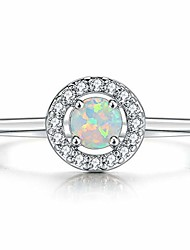 cheap -white gold plated creaed fire opal solitaire wedding engagement ring (silver, 6)