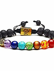 cheap -- 7 chakra healing bracelet with ajustable braided rope - chakra lava stone bracelet with essential oil diffuser. adjustable bracelet bangle for women and men, 8mm beads