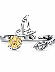cheap -sterling silver gold tone sunflower initial 26 letter script name alphabet a resizable ring for size 5-9