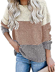 cheap -womens casual color block sweater long sleeve crewneck knit pullover jumper tops