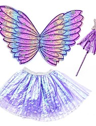 cheap -Princess Cosplay Costume Costume Girls' Movie Cosplay Stage Props Purple / Pink / Fuchsia Skirts Wings Wand Christmas Halloween Carnival Polyester