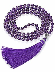 cheap -womens 108 mala prayer beads wrap necklace with long tassel healing crystal stone necklaces yoga meditation reiki quartz jewelry (black - 7 chakra)