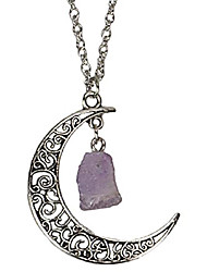 cheap -magical filigree antiqued silver crescent moon natural raw amethyst crystal long necklace for women