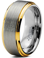 cheap -tungsten wedding band ring 8mm men women comfort fit 18k yellow gold step edge brushed polished size 7