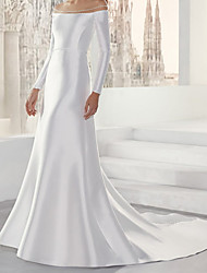 cheap -Mermaid / Trumpet Wedding Dresses Off Shoulder Sweep / Brush Train Satin Long Sleeve Simple with 2021