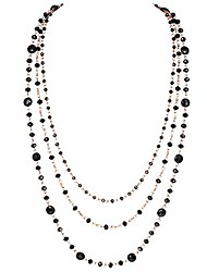 cheap -firstmeet long chain multi layer fashion glass beads handmade necklace (xl-1035-black-mgj)
