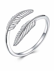 cheap -sterling silver feather ring leaf ring thumb rings for women adjustable wrap open ring for different fingers us size 7 8 9
