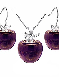 cheap -platinum plated purple stone apple earrings and necklace jewelry set - white gold plated jewelry necklace earrings for women girls yl007