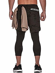 cheap -men's sport shorts legging running shorts 2 in 1 running shorts fitness training with built-in pockets