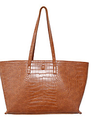cheap -Women's Bags PU Leather Tote 2 Pieces Purse Set Zipper Plain Snake Print 2021 Daily Going out Black Khaki Brown Coffee