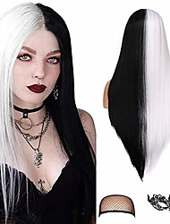 cheap -half black white straight wigs 22 inches silky straight wig synthetic hair wigs for women daily cosplay