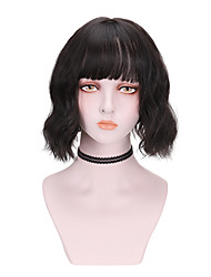 cheap -Synthetic Wig Curly With Bangs Wig Short Dark Brown Brown Black Synthetic Hair 10 inch Women's Comfy Fluffy Black Brown
