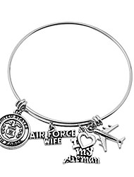 cheap -military mom/wife bracelet expandable wire bangle jewelry gifts for women (air force wife bracelet)