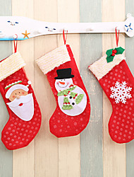 cheap -Christmas Stockings Fabric Santa Claus Sock Gift Kids Candy Bag Snowman Snowflakes Pocket Hanging Xmas Trees Ornaments 3pcs