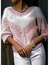 cheap -Women's Knitted Hole Color Block Pullover Long Sleeve Sweater Cardigans V Neck Fall Winter Light Blue Blushing Pink