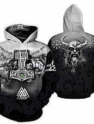 cheap -men's viking tattoo hooded sweatshirt fashion 3d digital print hoodies sweatshirt outwear