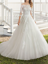 cheap -A-Line Wedding Dresses Off Shoulder Sweep / Brush Train Lace Tulle 3/4 Length Sleeve Country Formal Luxurious with Pleats Appliques 2021