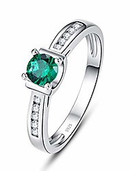 cheap -925 sterling silver women simulated emerald stackable band cocktail ring size 6