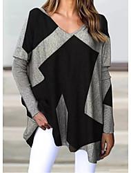 cheap -Women's Plus Size Tops Blouse Patchwork Color Block Large Size V Neck Long Sleeve Big Size