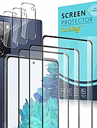 cheap -zeking [6 pack] 3 pack full coverage screen protector with 3 pack camera lens protector for samsung galaxy s20 fe 5g (6.5inch), tempered glass hd clear [case friendly] 9h hardness