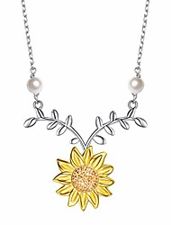 cheap -sterling silver sunflower with simulated pearl warmth sunshine jewelry y pendant necklace for women (necklace)