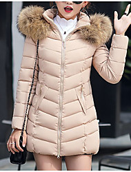 cheap -Women's Down Parka Plus Size Solid Colored Poly&Cotton Blend Black / Red / Wine M / L / XL