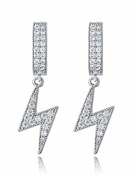cheap -lightning bolt earrings for men women 14k gold plated fashion hip hop jewelry gifts (silver)
