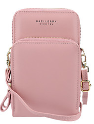 cheap -Women's Bags PU Leather Polyester Wallet Mobile Phone Bag Crossbody Bag Solid Color 2021 Daily Office & Career Black Blue Purple Blushing Pink