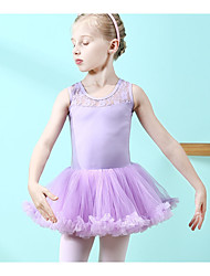 cheap -Kids Little Girls' Dress Solid Colored Layered Mesh Lace Purple Blushing Pink Midi Sleeveless Sweet Dresses Regular Fit