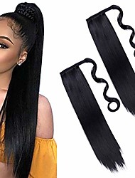 cheap -2pieces 24inch long black straight ponytail hair extension wrap around ponytail extensions synthetic clip in ponytail hair extensions hairpiece for women