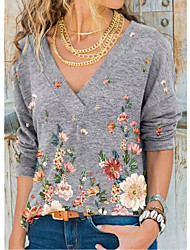 cheap -Women's Plus Size Tops T shirt Print Floral Large Size V Neck Long Sleeve Big Size